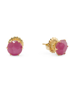 Made In Thailand 18k Gold Rock Candy Ruby Stud Earrings