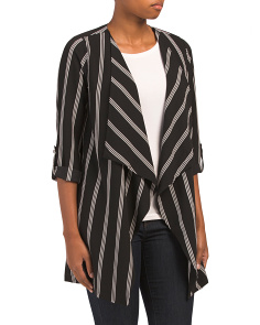 Juniors Open Drape Long Stripe Jacket