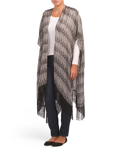 Multi Pattern Ruana With Fringe
