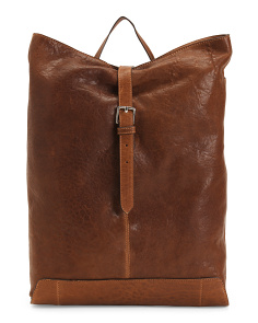 Made In Italy Leather Flap Over Tote