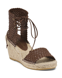 Made In Spain Leather Woven Wedge Espadrilles