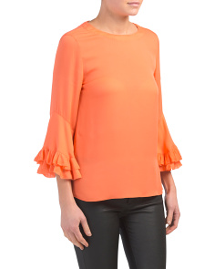 Silk Popover Blouse With Ruffle Sleeve