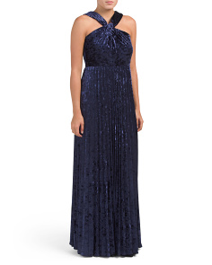 Velvet Halter Gown With Pleated Skirt