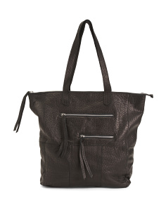 Leather Tote With Front Double Zip