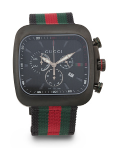 Men's Swiss Made G Coupe Xl Chrono Logo Stripe Strap Watch
