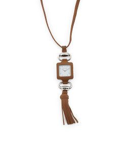 Women's Swiss Made Leather Necklace Watch
