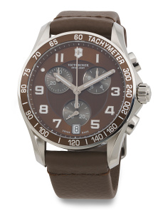 Men's Swiss Made Chrono Classic Leather Strap Watch