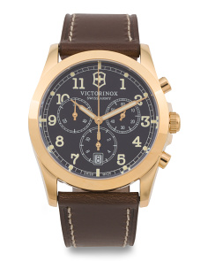 Men's Swiss Made Infantry Chrono Leather Strap Watch