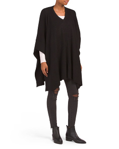 Ribbed Cashmere Feel Poncho