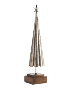 Metal Tree With Wood Base