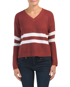 Juniors V-neck Pullover Sweater