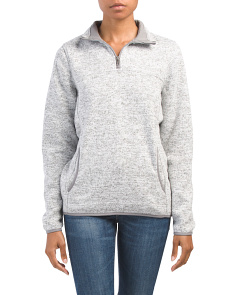 Juniors Quarter Zip Marled Top
