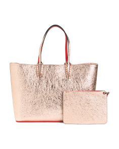 Made In Italy Leather Metallic Tote