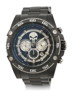 Men's Marvel Punisher Black Ip Bracelet Watch