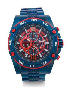 Men's Marvel Spiderman Blue Ip Bracelet Watch