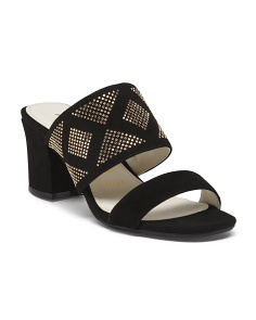 Suede Two Band Slide Sandals