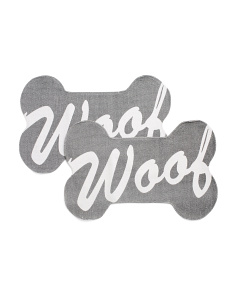 Made In India Set Of 2 Woof Script Pet Placemats