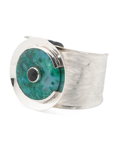 Handmade In Mexico Sterling Silver Agate Cuff Bracelet