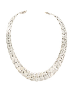 Handmade In Mexico Sterling Silver Braided Collar Necklace