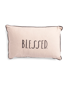 Made In India 14x22 Linen Blend Blessed Pillow