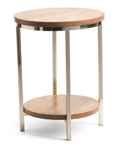 Made In India Wood & Steel Accent Table