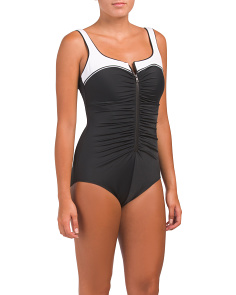 Zip Athletic One-piece Swimsuit