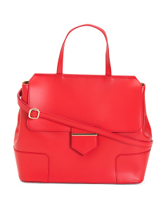 Made In Italy Leather Top Handle Satchel