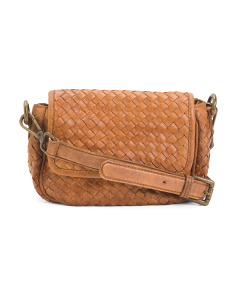 Made In Italy Leather Woven Flap Crossbody