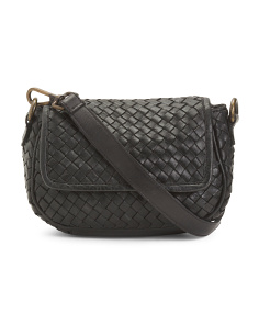 b65b1028f0a8 Made In Italy Leather Woven Flap Crossbody ...