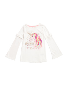 Little Girls Sparkle Unicorn Tie Sleeve Top