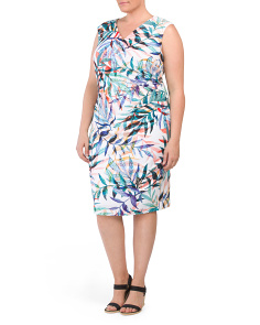 Plus Tropical Printed Sheath Dress