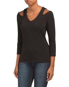 V-neck Cut Out Crepe Top
