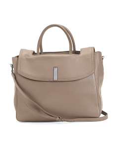 Large Leather Tote With Flap