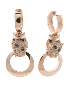 14k Rose Gold Diamond And Emerald Panther Drop Earrings