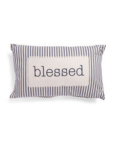 16x26 Blessed Ticking Stripe Pillow