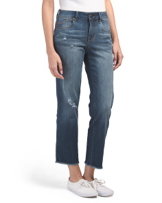 Cassie Straight Ankle Jeans With Fray Hem