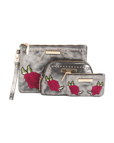 Set Of 3 Floral Zip Pouches