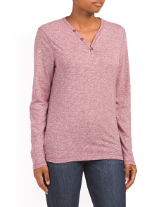 Heathered Knit Henley Top