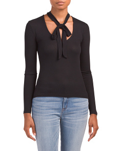 Tie V-neck Ribbed Knit Top