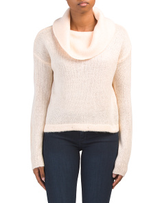 Juniors Cowl Neck Cropped Sweater