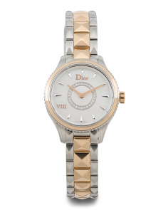 Women's Swiss Made Diamond And Gold Accent Automatic Watch