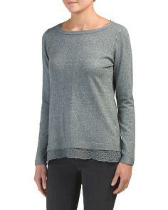 Hi-lo Pointelle Lace Bottom Sweater