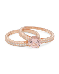 14k Rose Gold Plated Sterling Silver Morganite Bridal Ring Set