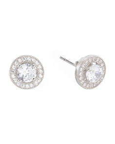 Sterling Silver Cz Round Cz Halo Stud Earrings