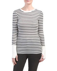 Made In Usa Striped Crew Neck Thermal Top