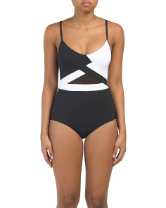 Hot Mesh V Neck One-piece Swimsuit