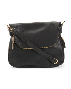 Fold Over Zippered Leather Crossbody