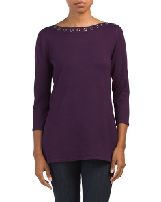 Grommet Detail Boat Neck Sweater Tunic