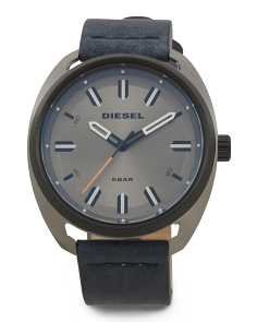 Men's Denim Leather Strap Watch