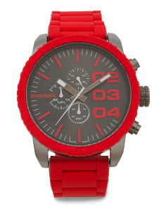 Men's Double Down Silicone Strap Watch